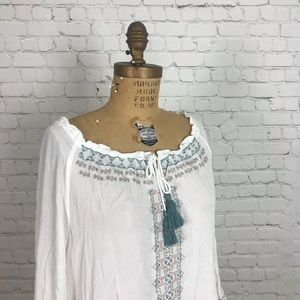 Democracy White Embroidered Top